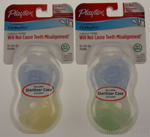 Playtex OrthoPro Silicone Pacifiers 0-6m Set 2 Infant Baby Orthodontic BPA Free - FUNsational Finds - 1