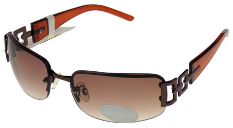 Nine & Co Rectangular Sunglasses Bronze Brown 100% UV Metal Plastic 65-18-120 - FUNsational Finds - 1