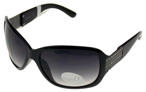 Nine & Co Cat Eye Sunglasses Black Bling 100% UV Protection Plastic 64-18-120 - FUNsational Finds - 1