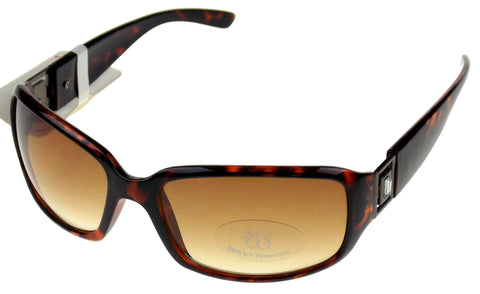 Nine & Co Rectangular Sunglasses Brown Marble 100% UV Plastic 63-18-130 Case - FUNsational Finds - 1