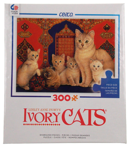 Ceaco Ivory Cats Puzzle Catkin Kittens 300 Pieces 24x18 Made in USA Lesley Anne