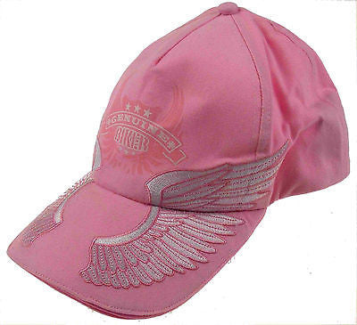 Lot 2 Rolling Steel Thunder Genuine Biker Pink Adult Hat Cap Embroidered Wings - FUNsational Finds - 1