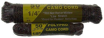"Set 2 TW Evans Cordage Polypro Camo Cord Rope Camouflage 50' 1/4"" 1/8"" Camping - FUNsational Finds - 1"