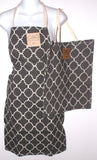 Gray White Apron & Carry Bag Tote Set 2 Home Concepts Casa Printed 100% Cotton - FUNsational Finds - 1