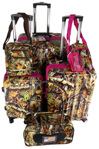Luggage Real Tree Camo 6 Pc Travel Set 360 Spinner Messenger Gadget Pet Carrier - FUNsational Finds - 1