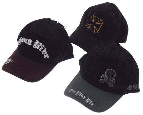 Lot 3 Biker Hat Rolling Steel Thunder Live Ride Die Adult Black Skull Cross Snap - FUNsational Finds - 1