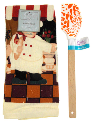"Kitchen Towel Chef Cafe Scene 15""x25"" Orange White Silicone Spatula Gift Set 2 - FUNsational Finds - 1"