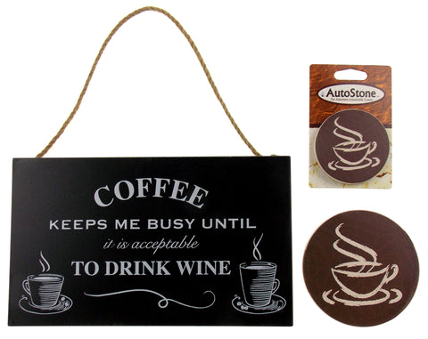 Kitchen Coffee Keeps Me Busy Drink Wine Sign Home Auto Stone Coaster Gift Set 3 - FUNsational Finds - 1