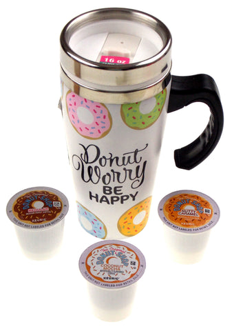 Donut Worry Be Happy Coffee Travel Mug 16 oz Stainless White Donut Shop Kcup Set - FUNsational Finds - 1