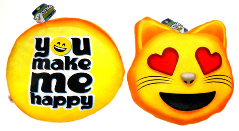 Emojeez Emoji Pillows Set 2 Cat Smiley You Make Me Happy Soft Plush Hearts Gift - FUNsational Finds - 1