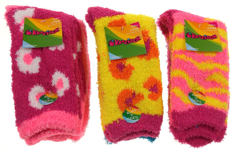 6 Pairs Fuzzy Crew Socks Krazisox Pink Yellow Blue Cozy Womens Size 4-10 Stripes - FUNsational Finds - 1