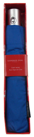 Blue London Fog Full Size Umbrella Auto Open Close Silver Snowflake Gift Box