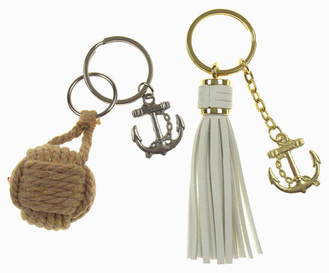 Nautical Theme Anchor Tassel Rope Ball Set of 2 Keychains Key Ring Maritime