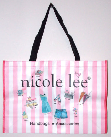 "Nicole Lee Hollywood Tote Bag Pink White Stripes Polka Dots Lightweight 21"" - FUNsational Finds - 1"