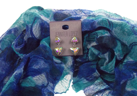 Set 2 Lane Bryant Infinity Scarf Blue Green Jennifer Lopez Earrings Crystal Hang - FUNsational Finds - 1
