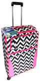 Luggage Chevron Black White Pink 4 Pc Travel Set 360 Spinner Messenger Gadget - FUNsational Finds - 2