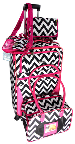Luggage Chevron Black White Pink 4 Pc Travel Set 360 Spinner Messenger Gadget - FUNsational Finds - 1
