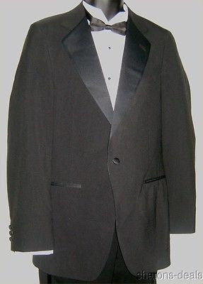 37R Wilshire Black Wool 1 Button Tuxedo Jacket Coat Vented Formal Wedding USA - FUNsational Finds - 1