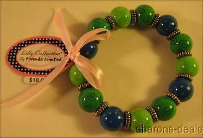 Lot 10 Handpainted Lilly Bracelet Friends Limited Wood Green Whale Stretch NEW - FUNsational Finds - 1