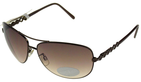 Nine & Co Pilot Sunglasses Mauve Bronze 100% UV Protection Metal 65-14-125 Case - FUNsational Finds - 1