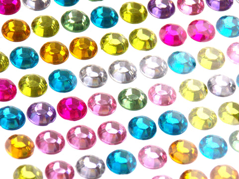 Multi Color Self Adhesive Rhinestone Gems Stick On 8mm 750 pcs Lot of 5 Crafts