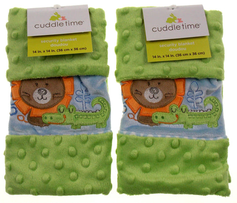 Set of 2 Cuddle Time Green Baby Security Blanket Lovey Alligator Bear Plush Soft - FUNsational Finds - 1