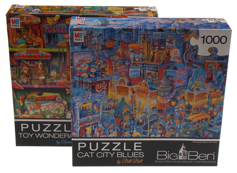 Big Ben Jigsaw Puzzle Set 2 1000 Piece Stewart Cat City Blues Bell Toy Wonderama