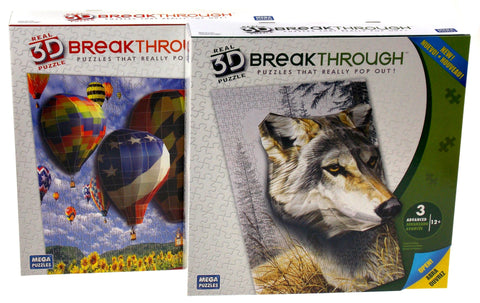 Real 3D Breakthrough Puzzle Pop Out Wolf Watcher & Hot Air Balloons Mega 18x24 - FUNsational Finds - 1
