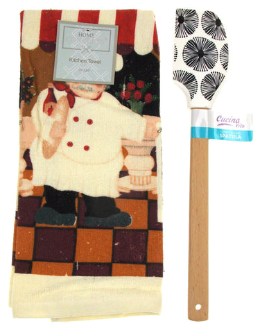 "Kitchen Towel Chef Cafe Scene 15""x25"" Black White Silicone Spatula Gift Set of 2 - FUNsational Finds - 1"