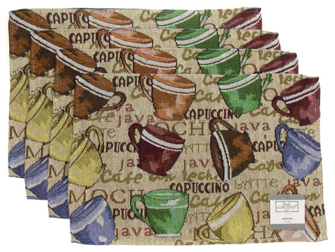 Set 4 Placemats Chef Tapestry Coffee Cups 13x19 Kitchen Table Fabric Java Latte