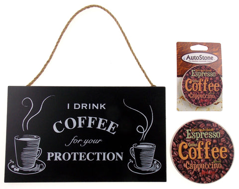 Kitchen Drink Coffee Protection Sign Home Auto Stone Coffee Coaster Gift Set 3 - FUNsational Finds - 1
