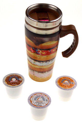 Coffee Travel Mug 16oz Stainless Donut Shop Kcups Insulated Set 4 Valentine Gift - FUNsational Finds - 1