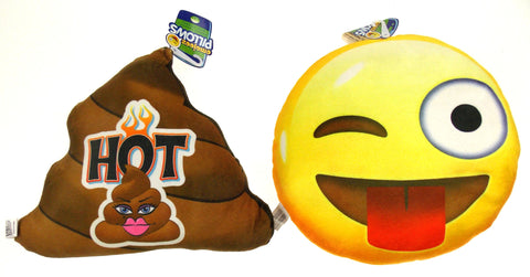 Emojeez Emoji Pillows Set 2 Sticking Tongue Lady Poo Lip Stick Soft Plush Gift - FUNsational Finds - 1