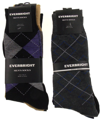 6 Pairs Everbright Mens Argyle Dress Socks Size 6-12 Purple Red Brown Black - FUNsational Finds - 1