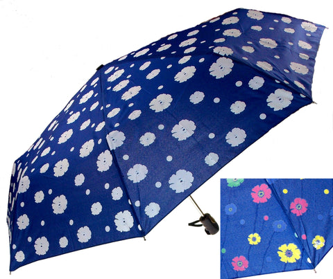 "Color Changing Umbrella Blue 42"" Rain Stoppers Floral Flowers Auto Open Close - FUNsational Finds - 1"