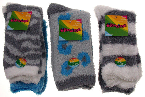 6 Pairs Fuzzy Crew Socks Krazisox Gray White Blue Cozy Womens Size 4-10 Stripes - FUNsational Finds - 1