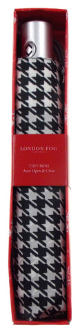 London Fog Black White Silver Full Size Umbrella Auto Open Close Tiny Mini Thin