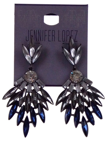 "Jennifer Lopez Pierced Earrings Silver Post Faux Clear Blue Crystals Hanging 3"" - FUNsational Finds - 1"