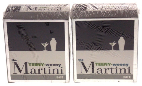 Lot of 2 Teeny-Weeny Martini Set Mega Mini Kit Recipes Glasses Shaker Stirrers - FUNsational Finds - 1