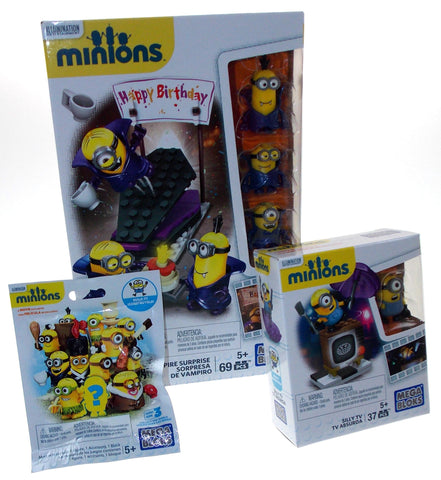 Lot of 3 Minions Vampire Surprise Silly TV Series 3 Mystery Pack Mega Bloks Toys - FUNsational Finds - 1