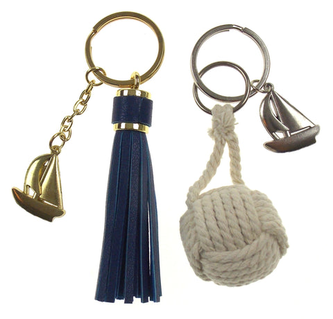 Nautical Theme Sail Boat Tassel Rope Ball Set of 2 Keychains Key Ring Maritime