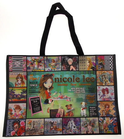 "Nicole Lee Hollywood Tote Shopping Beach Bag Black Cup Cake Girl Lightweight 21"" - FUNsational Finds - 1"
