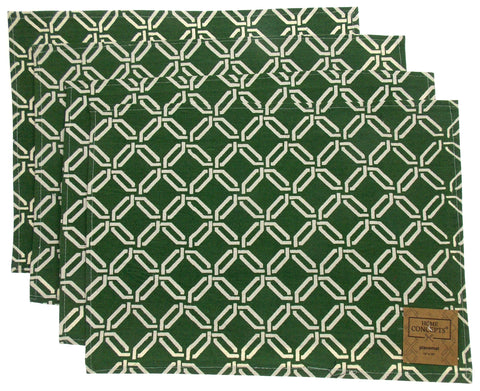 Green White Placemats Apron & Carry Bag Tote Set of 6 Home Concepts Casa Printed