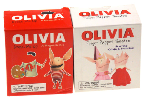 Lot of 2 Olivia Dress Me Up Magnetic Kit Finger Puppet Theatre Francine Stickers - FUNsational Finds - 1
