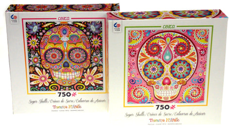 Sugar Skulls Jigsaw Puzzles Thaneeya McArdle 750 Pc 21x21 Set 2 USA Flowers Pink