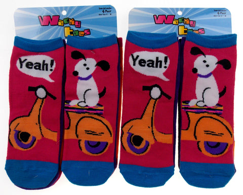 8 Pairs Wacky Toes Low Cut Socks Women 8-11 Puppy Scooter Penguin Purple Black