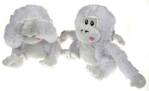NANCO Gus White Gorilla Set 2 Plush Stuffed Animal Toy Hook & Loop Covers Eyes