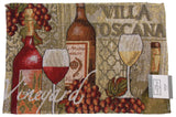 Wine Tapestry Set 4 Placemats 13x19 Merlot Toscana Kitchen Dining Table Fabric