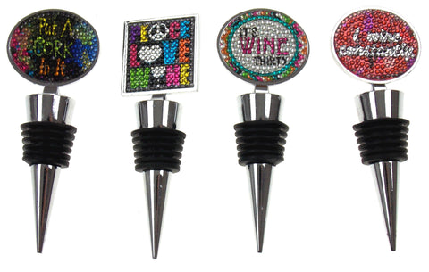 Faux Rhinestone Wine Stopper Set of 4 Put a Cork In It Peace Love Sayings SS - FUNsational Finds - 1