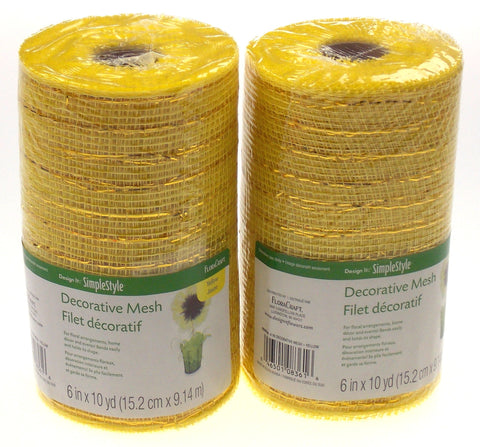 "Yellow 6"" Decorative Mesh Simple Style Flora Craft Set 2 Rolls 10 Yards Floral"